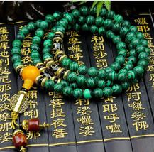 Tibetan Buddhism Natural Malachite Meditation yoga 108 prayer beads mala beaded  - $34.99
