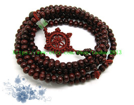 7 mm Tibetan Buddhism Natural red sandalwood meditation yoga 216 Beads Prayer Ma - $22.88
