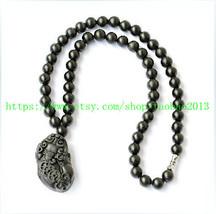 Noble black jade hand-carved black jade Pi Yao pendant / jade beaded necklace - $22.99