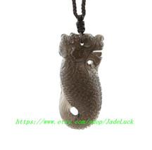 "Ice kind of obsidian pendant ""Dragon / head / fish / body"" lucky 3A grade natura - $66.99"