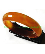 The real hand-carved natural yellow agate bracelet diameter 56 mm - 70 mm - $36.99