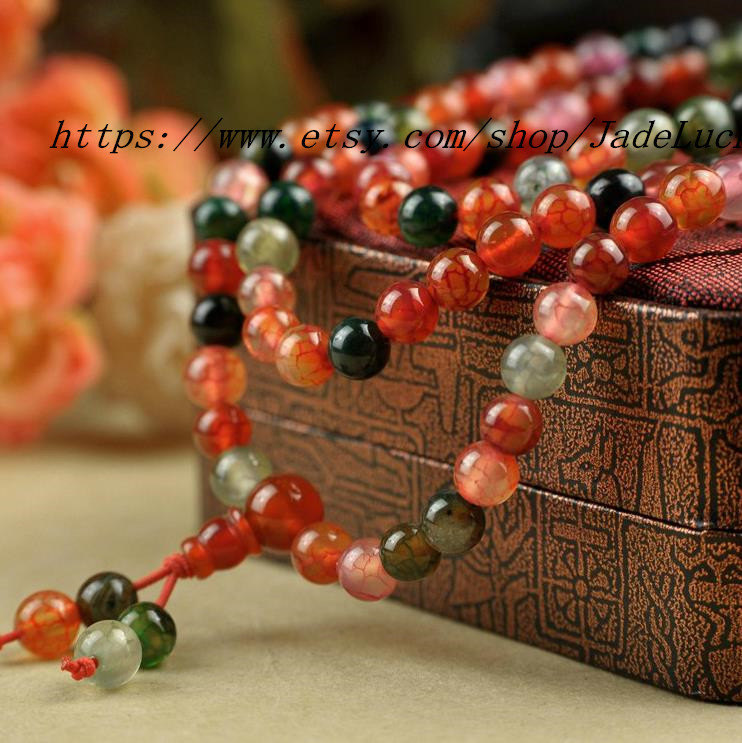Real natural colorful agate beads bracelet 108