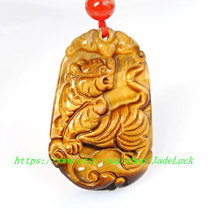 The unique charm of natural yellow tiger eye tiger mascot pendant Lucky evil spi - $36.99