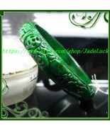 Dry green jade carved rich full green emerald bracelet wishful (diameter... - $68.99