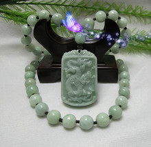 """8MM natural hand-carved jade dragon """"AAA"""" beaded necklace - $29.99"""