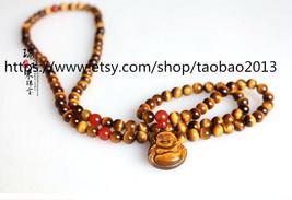 Tibetan Buddhism buddha Real Natural tiger eye stone meditation yoga 108 Beads P - $29.99
