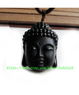 Natural Obsidian Buddha head pendant - $23.99