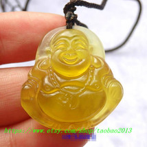 Natural yellow jade, hand-carved Laughing Buddha amulet charm lucky jade pendant - $26.99