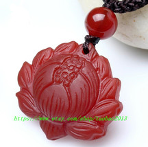 Free shipping ---Hand carved Natural red jade jadeite buddha Lotus / buddha Lotu - $19.99