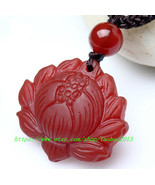 Free shipping ---Hand carved Natural red jade jadeite buddha Lotus / bud... - $19.99