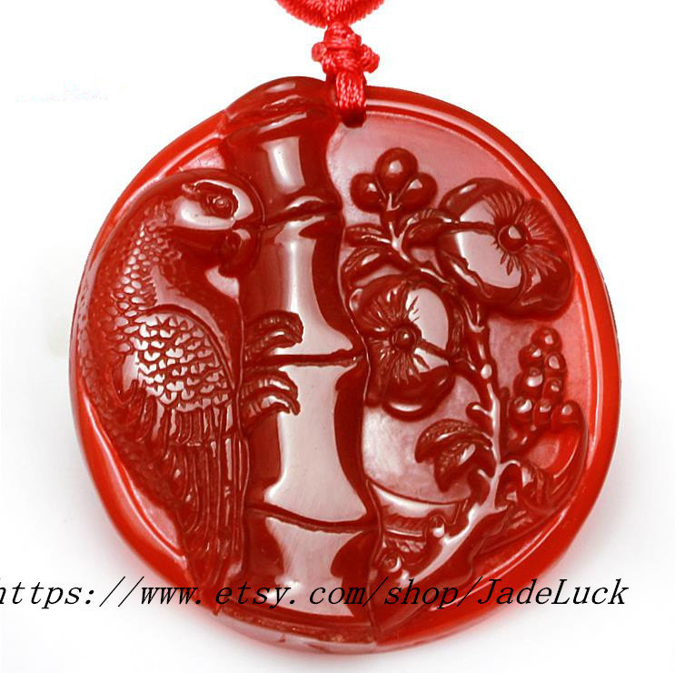 Primary image for Parrot natural chalcedony pendant necklace pendant plum Figure