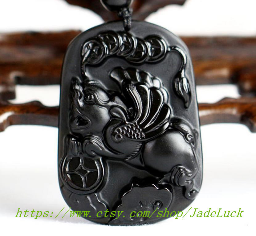 "Primary image for Natural obsidian ""Flying pi yao"" pendant / necklace pendant pi yao"