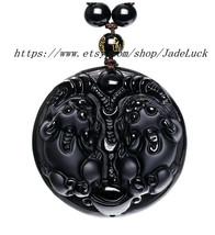 Pi Yao natural obsidian pendant beaded necklace Lucky / Lucky - $36.99