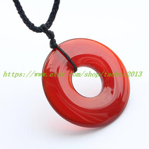 AAA natural red agate pendant peace buckle - $22.99