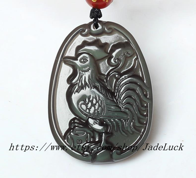 Primary image for Natural Obsidian Dragon / Zodiac pendant necklace pendant chicken mascot Annunci