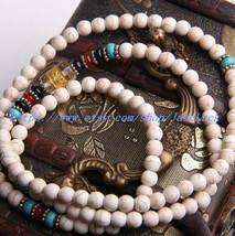 Tibetan Buddhist Meditation Yoga 108 natural white turquoise bead rosary necklac - $26.99