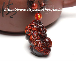 Elegant hand-carved red tiger's eye Pi Yao Pendant / Bead Necklace - $28.99