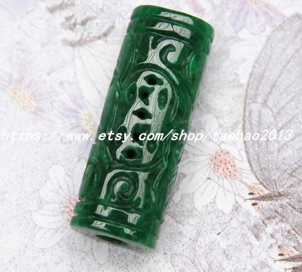 Primary image for Green jade necklace pendant hand-carved Passepartout