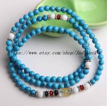 Tibetan Buddhist Meditation Yoga 108 natural blue turquoise beads rosary bead ne - $26.99