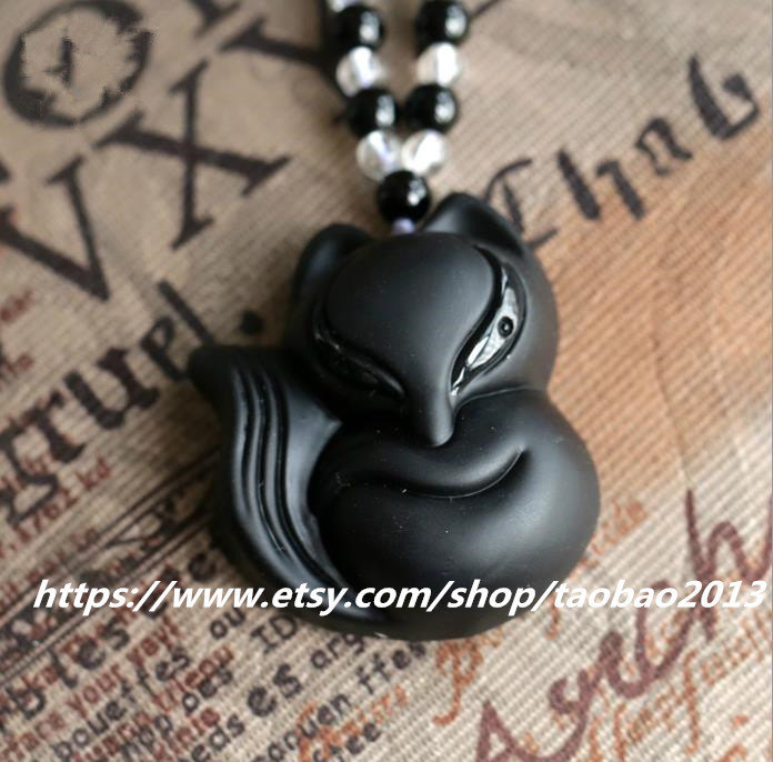 Primary image for Hand-carved obsidian fox super natural, natural white crystal necklace pendant n