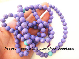Natural purple turquoise bead rosary necklace Yoga Meditation 108 - $36.99