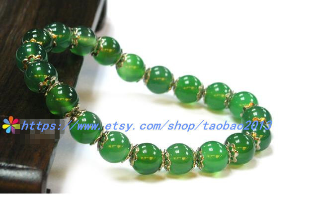 8mm natural crystal bracelet transparent Chrysoprase / ancient silver flower car