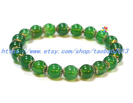 8mm natural crystal bracelet transparent Chrysoprase / ancient silver fl... - $26.99