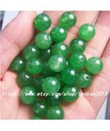 Green hand-carved natural jade beads 50, diameter 12 mm - $29.99