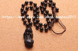 Elegant hand-carved obsidian Pi Yao pendant / bead necklace - $32.99