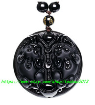Elegant hand-carved obsidian Pi Yao pendant / bead necklace - $26.99
