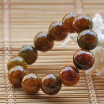 Natural yellow jade beads jade beaded charm bracelet - $22.99