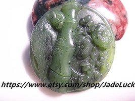 Natural jade parrot pendant necklace pendant plum Figure - $28.99