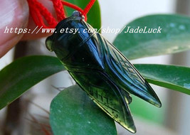 "Good luck good luck charm ink Cicadas pendant natural ""blockbuster"" pendant - $18.99"