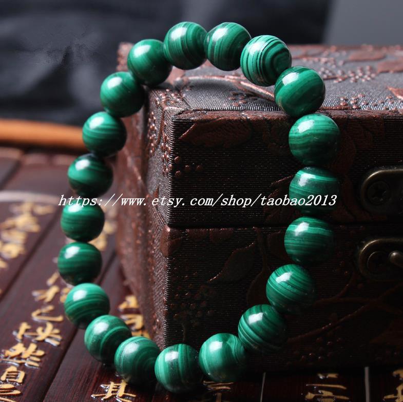 Need for AAA natural malachite, bracelet birthday valentines 8 mm bead charm bra