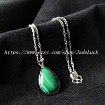 925 sterling silver necklace Natural malachite drip-shaped pendant necklace Luck - $22.99