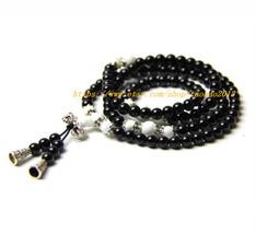 108 Tibetan Buddhist yoga meditation natural black agate rosary beads, Tibetan s - $32.99