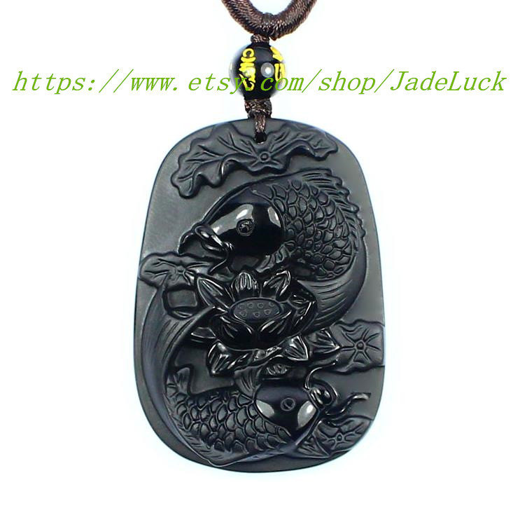 "Primary image for Natural Obsidian ""double / carp / group / Lotus"" Zodiac pendant necklace pendant"