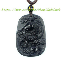 "Natural Obsidian ""double / carp / group / Lotus"" Zodiac pendant necklace... - $29.99"