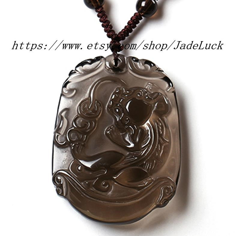Primary image for Natural ice kind of obsidian pi yao pendant / necklace pendant