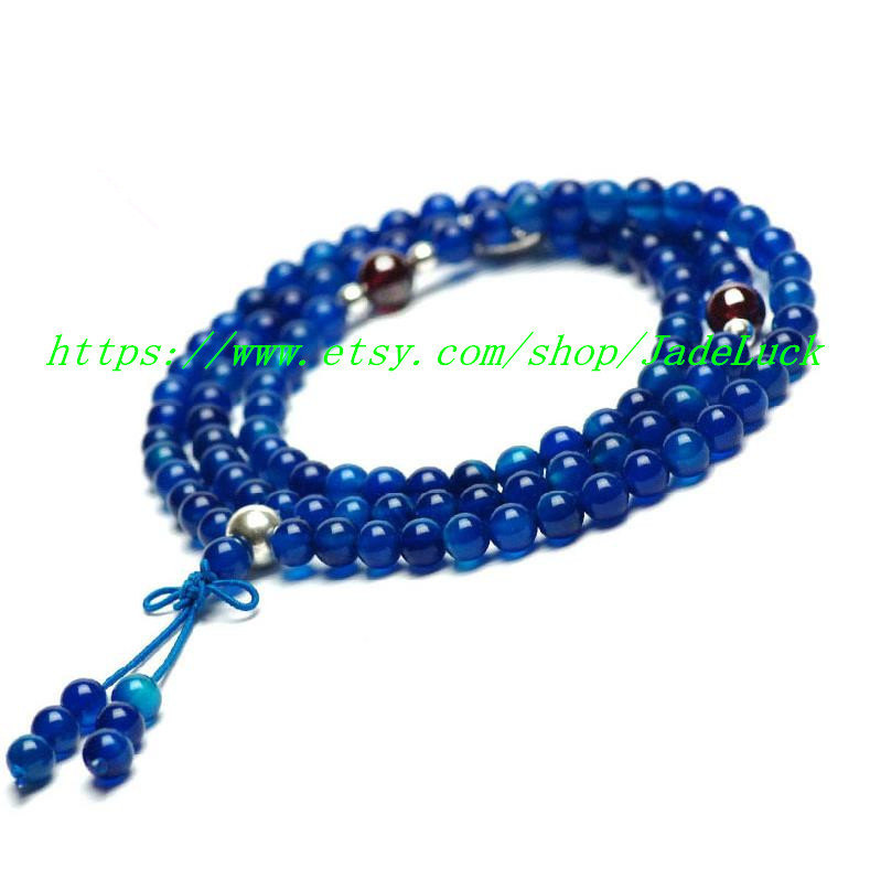 Free shipping -----Rare natural blue agate beads multilayer garnet bracelet 108