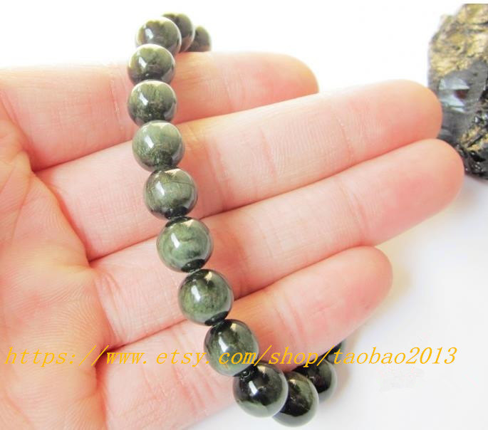 AAA Grade 8 mm, 100% pure natural green hair spar beads, beaded bracelet charm