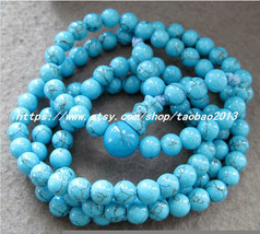 108 natural blue turquoise beaded charm bracelet - $25.99