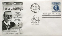 March 7, 1960 First Day of Issue, Fleetwood Cover, 4c Thomas G. Masaryk #82 - $1.73