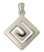 Meander - Greek Key - Sterling Silver Pendant - $39.00