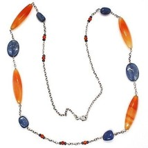 SILVER 925 NECKLACE, AGATE ORANGE, KYANITE BLUE, AMBER, LONG 80 CM, CHAIN ROLO' image 2