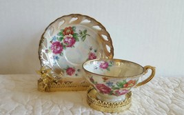 Vintage Norcrest Japan Tea Cup and Saucer  Opalescent W/Gold Trim GORGEO... - $19.99