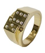 Men's 18 Kt Gold Plated Dress Ring Dice with CZ 071 (12) - $24.74