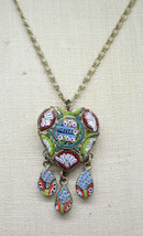 Venezia Italy Micro Mosaic Multi-Colored Heart Tassel Pendant Necklace Vintage - $89.09