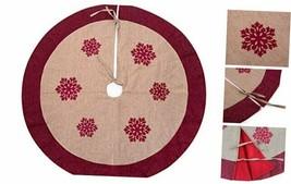 "42"" Christmas Tree Skirt,Snowflakes Burlap Rustic Xmas Tree Decorations 42 - $28.72"