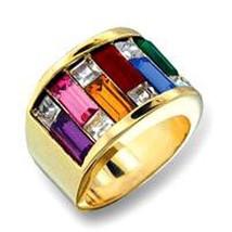 Bold Swarovski Crystal Multi Colored Rainbow Ring - $37.50